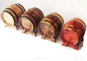 Small wooden barrels for wine and whiskey